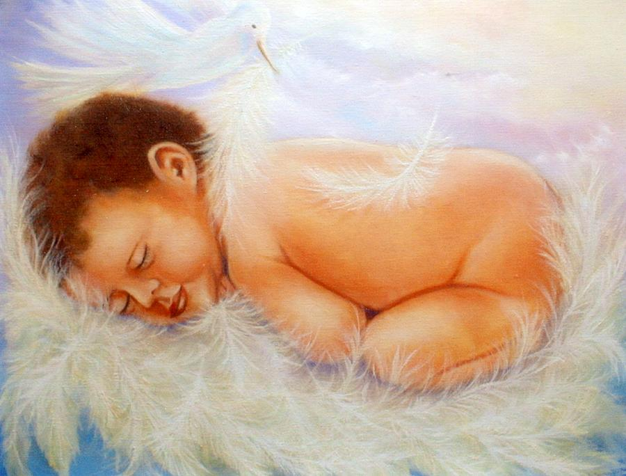 Portrait Painting - Baby Angel Feathers by Joni McPherson