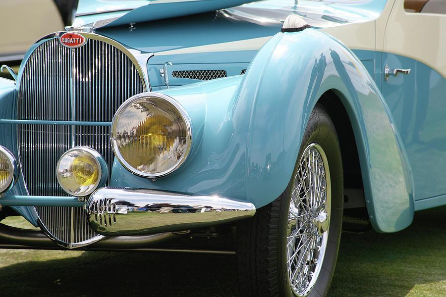 Vintage Bugatti Photograph - Baby Blue Bugatti by Ave Guevara