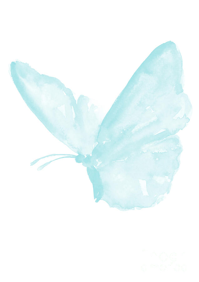 Butterfly Baby Blue Butterfly Watercolor Painting Pastel Kids Room Decor Nursery Boy Print