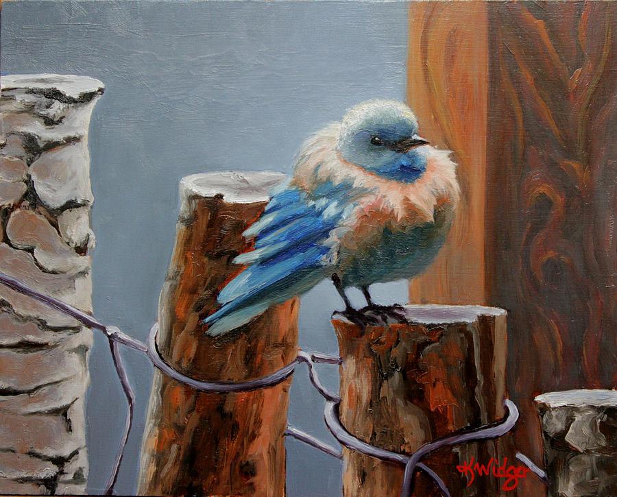 Western Blue Bird Painting - Baby Blue by Katy Widger
