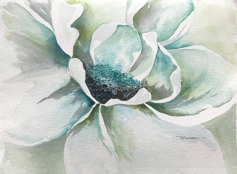 Flowers Painting - Baby Blue by Mary Blumberg