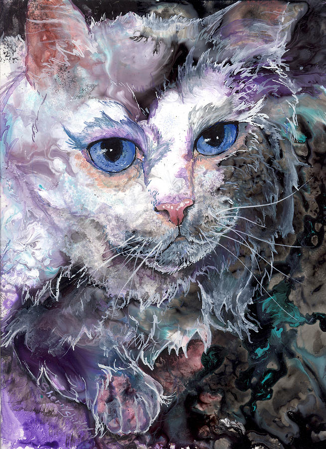 Cat Painting - Baby Blues by Sherry Shipley