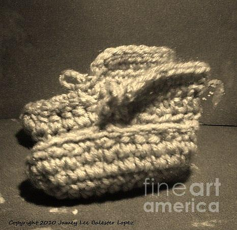 Babies Photograph - Baby Booties Black And White by Jamey Balester