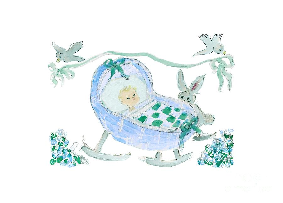 Baby Boy with Bunny and Birds by Claire Bull