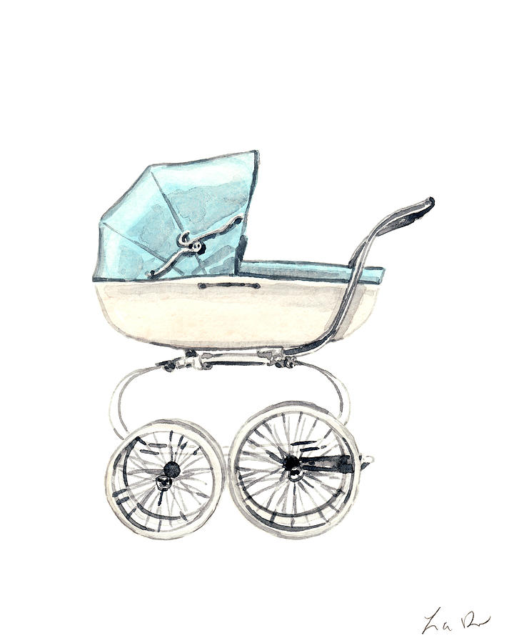 Baby Carriage Painting - Baby Carriage In Blue - Vintage Pram English by Laura Row