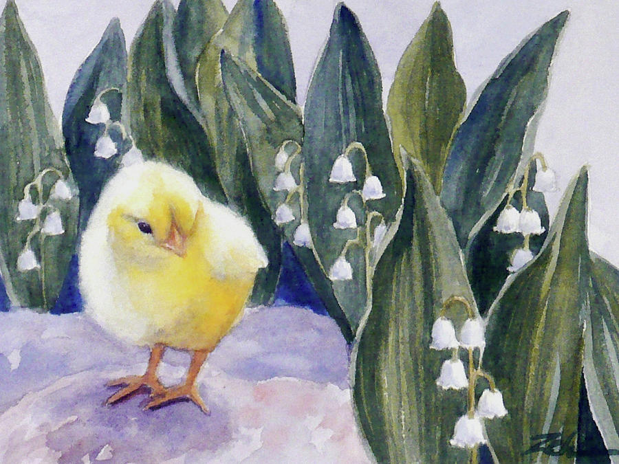 Baby Chick and Lily of the Valley Flowers by Janet Zeh