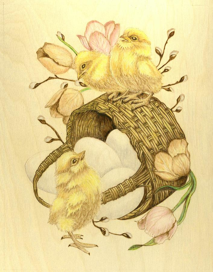 Chicks Pyrography - Baby Chicks by Danette Smith