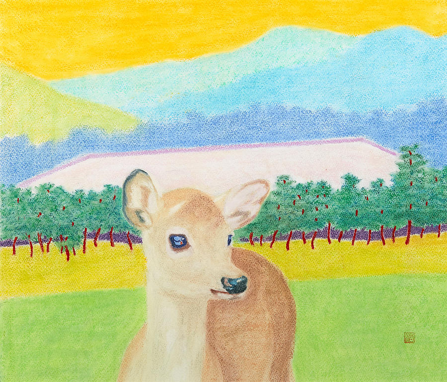 Baby Deer in Nara Painting by Haruo Saito