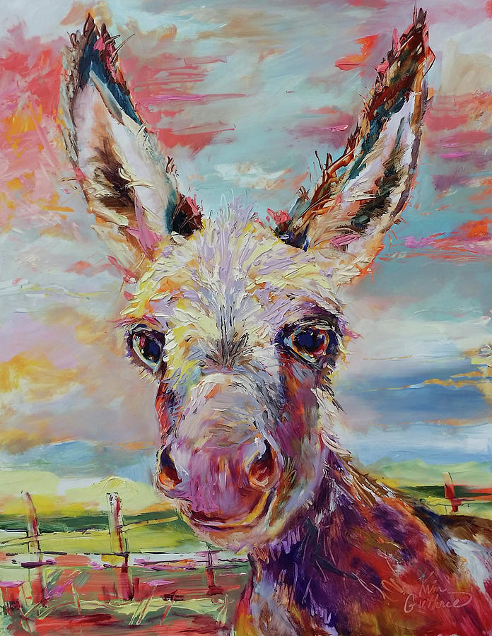 Donkey Painting - Baby Donkey Painting By Kim Guthrie Art by Kim Guthrie