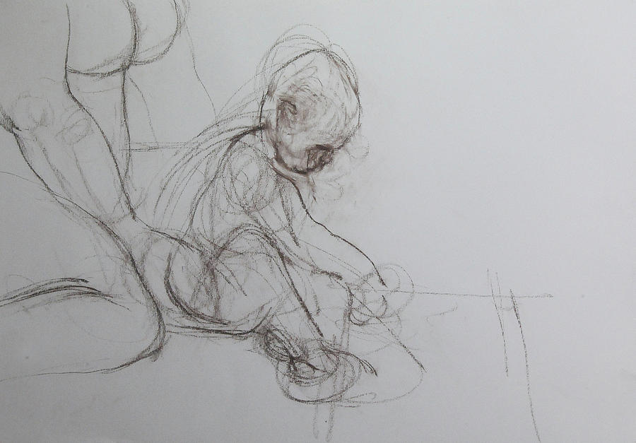 Baby, drawing with Mother by Harry Robertson