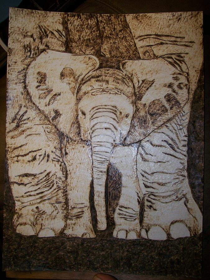 Elephant Pyrography - Baby Elephant Pyrographics On Paper Original By Pigatopia by Shannon Ivins