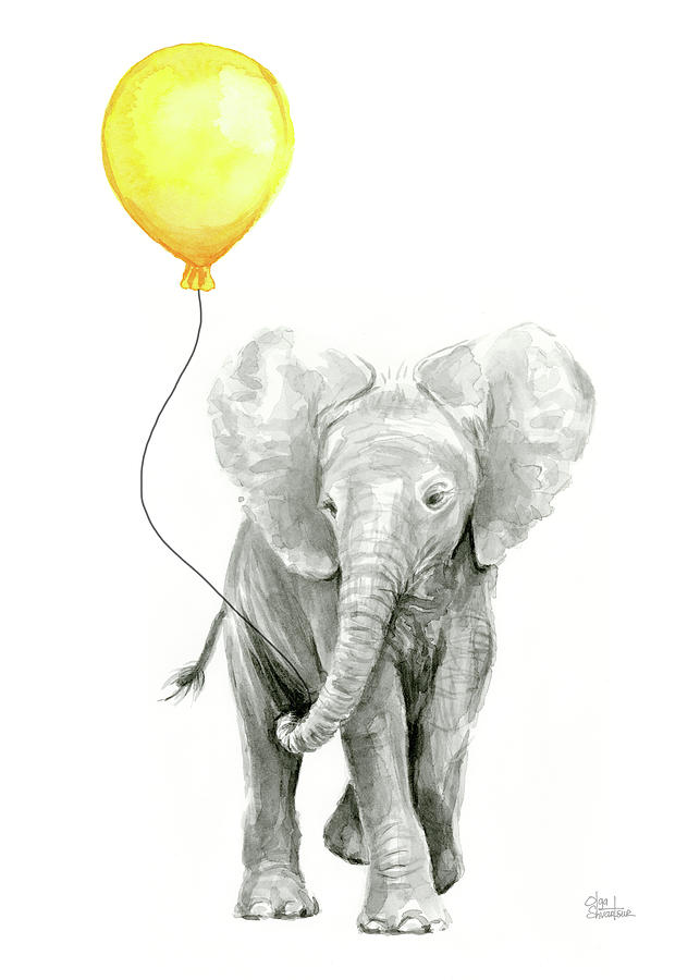 Baby Elephant Watercolor With Yellow Balloon Painting By