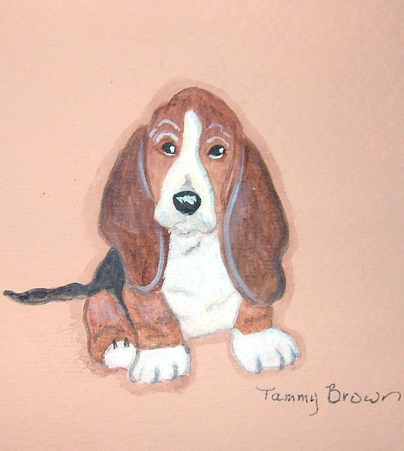Basset Painting - Baby Face by Tammy Brown