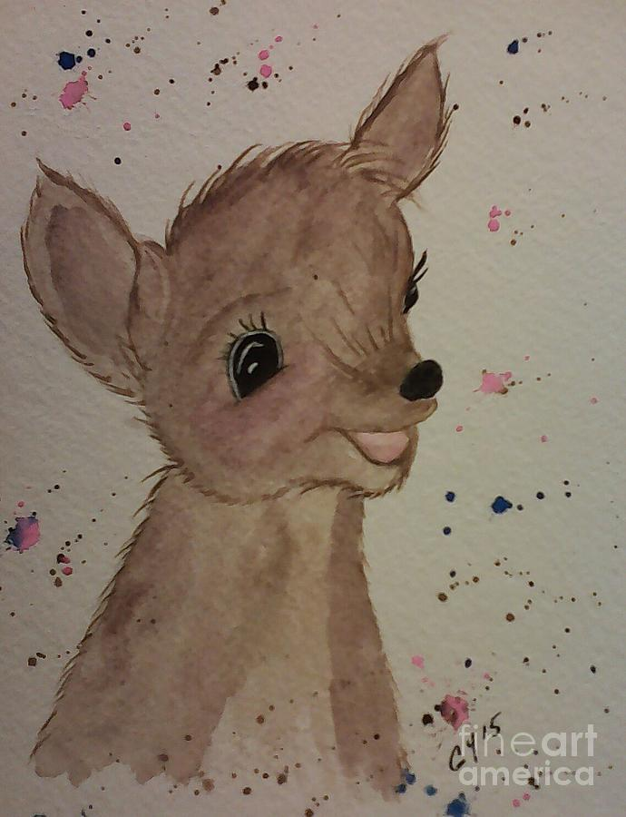 Deer Painting - Baby by Ginny Youngblood