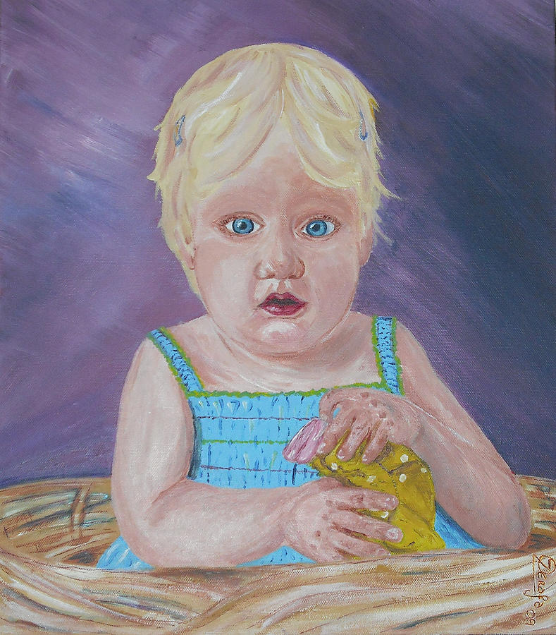 Portrait Painting - Baby Girl by Odette Camilleri