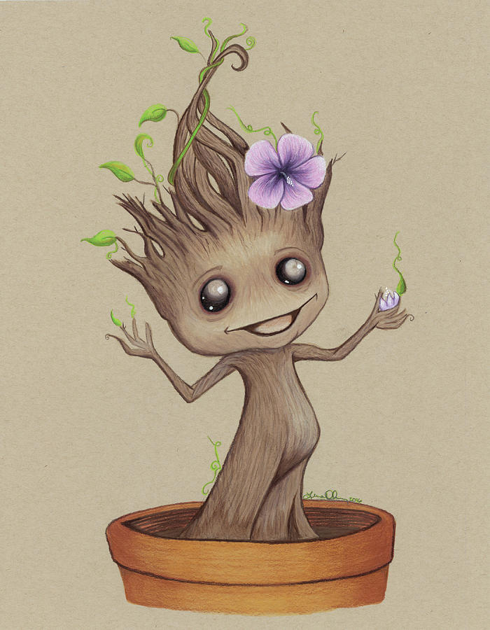 Baby Groot Drawing By Lena Degregory