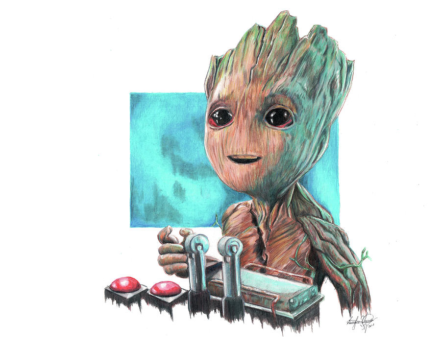 Baby Groot Drawing By Serafin Ureno