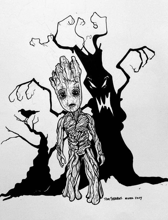Baby Groot Drawing By Tom Stearns