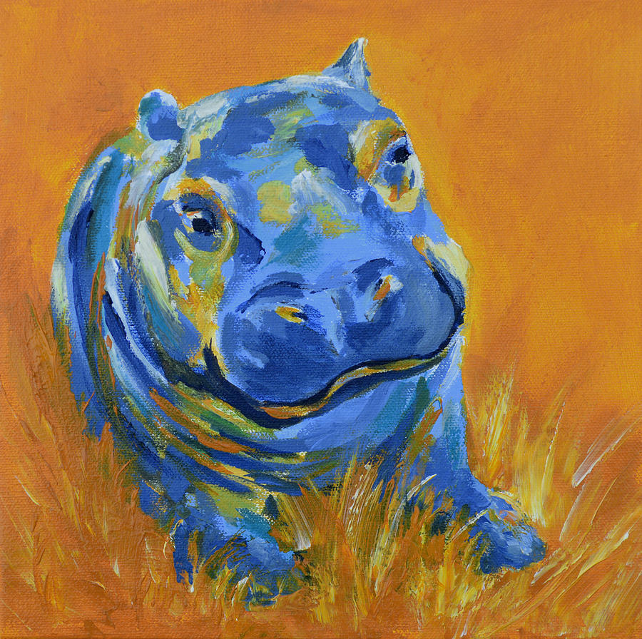 Hippo Art Images: Baby Hippo Painting By Catherine Jeltes