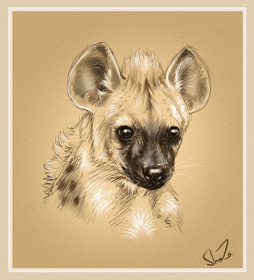 Baby Digital Art - Baby Hyena by Shaza D