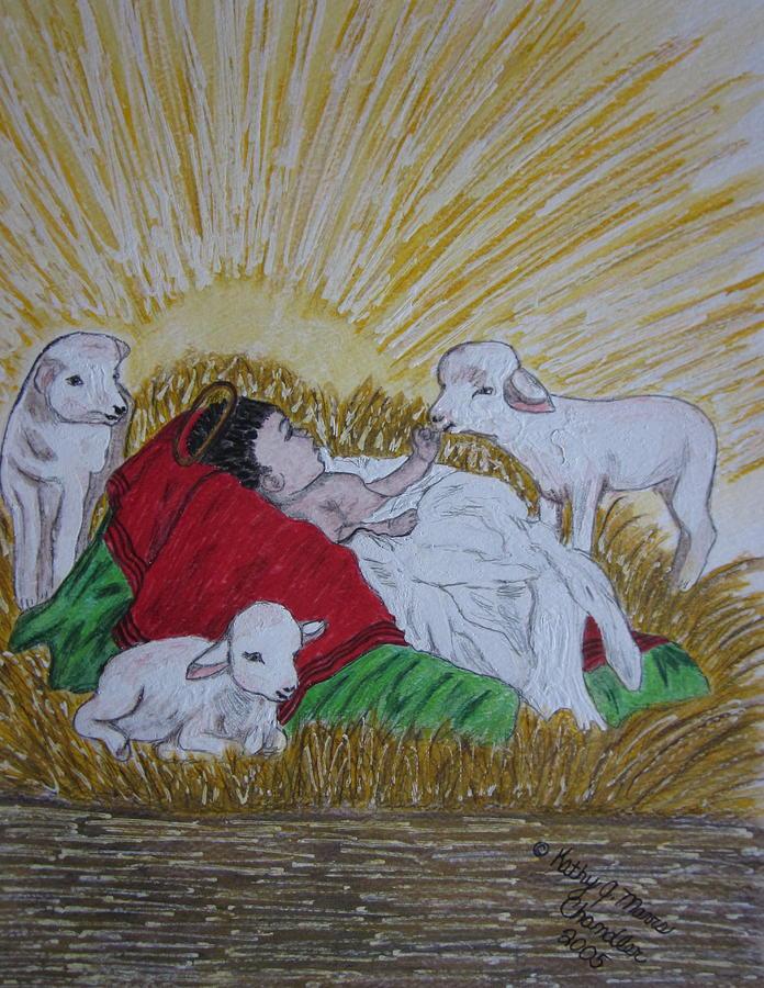 Saviour Painting - Baby Jesus at Birth by Kathy Marrs Chandler