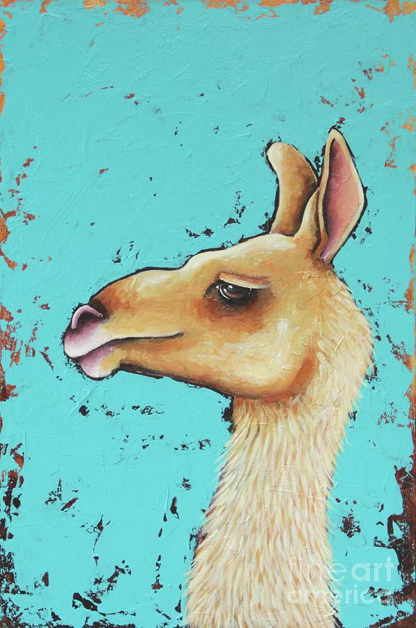 Llama Painting - Baby Llama by Lucia Stewart
