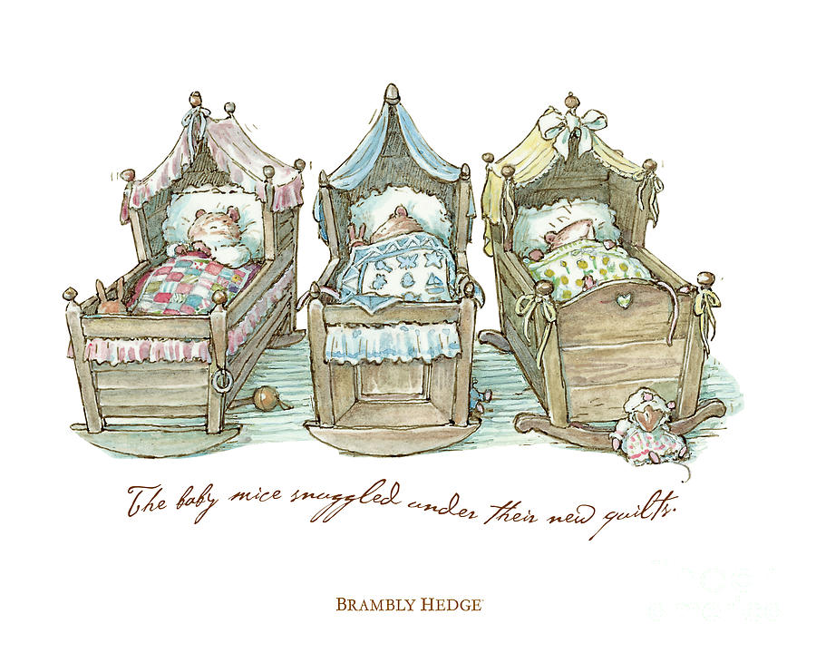 Brambly Hedge Drawing - The Brambly Hedge baby mice snuggle in their cots by Brambly Hedge