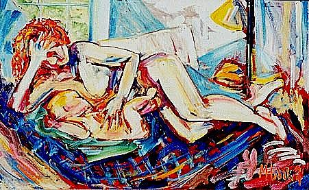 Mother And Child Painting - Baby Nursing by Michael Hudak