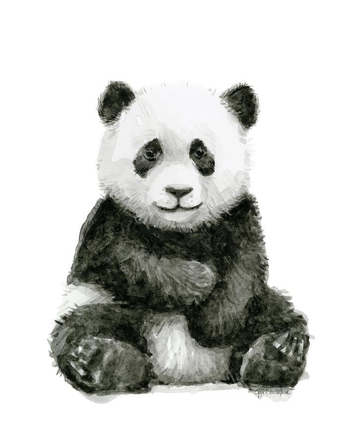 Baby Panda Watercolor Painting By Olga Shvartsur