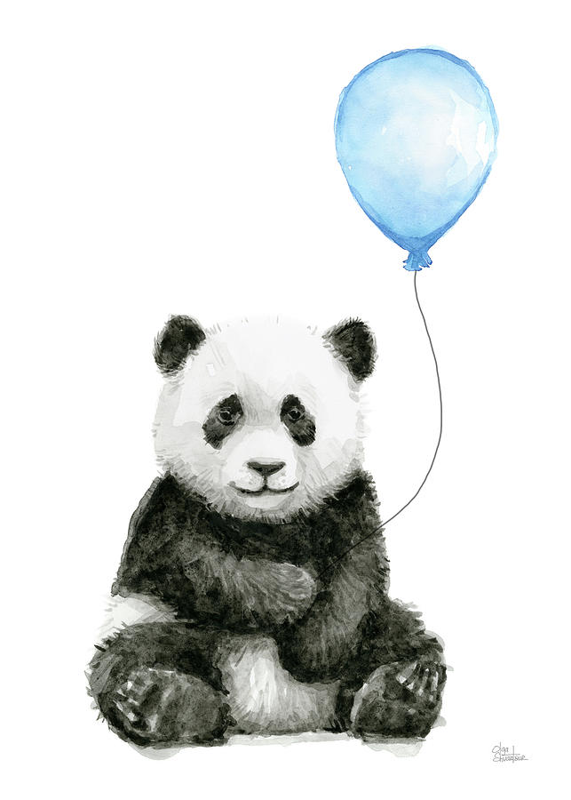 Baby Panda With Blue Balloon Watercolor Painting By Olga