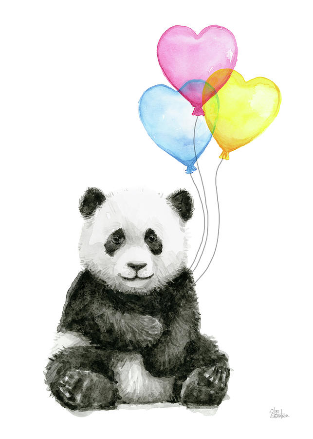 Baby Panda With Heart Shaped Balloons Painting By Olga