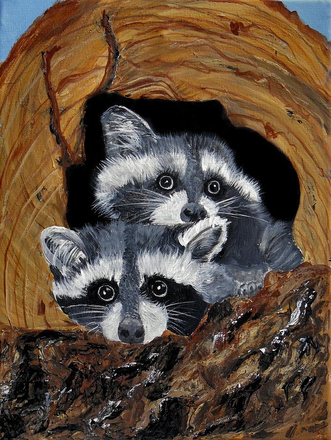 Wildlife Painting - Baby Raccoons by Dia Spriggs