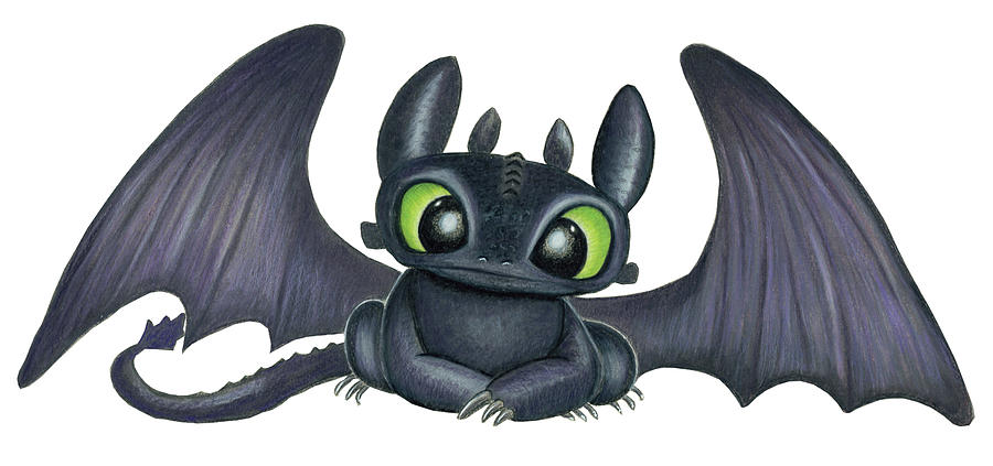 Baby Toothless Drawing By Lena Degregory