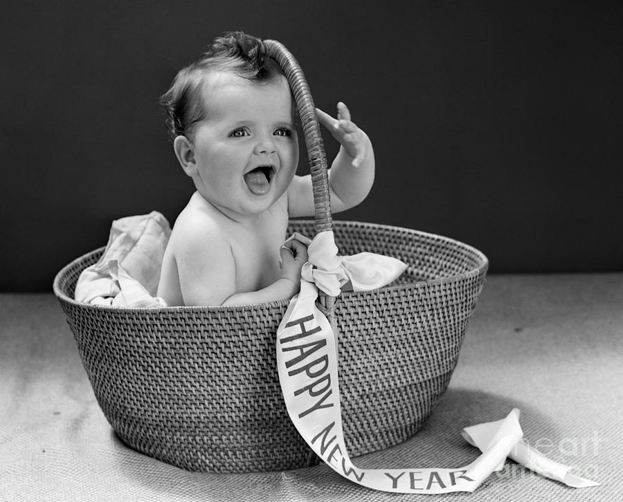 1940s photograph baby with happy new year banner c1940s by h