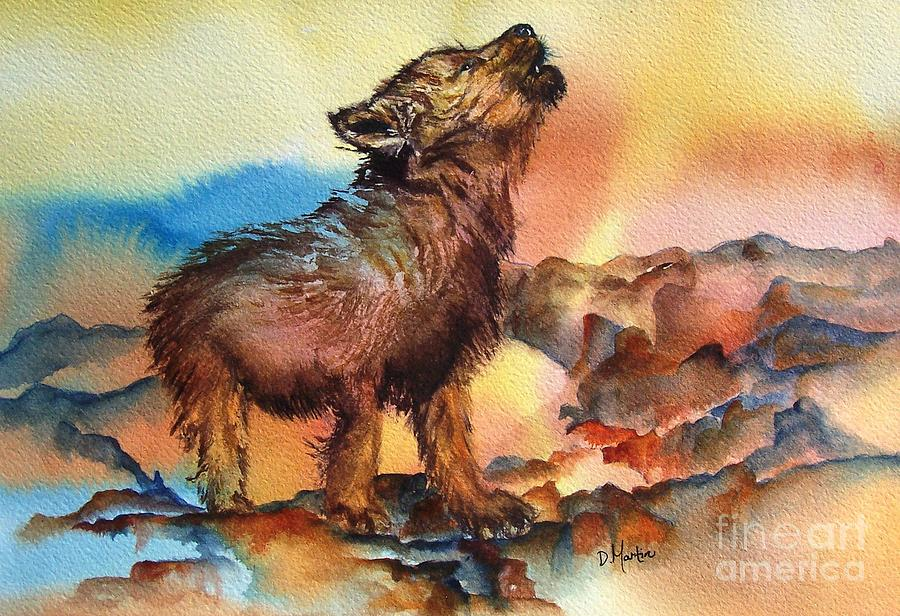 Animals Painting - Baby Wolf by Donna Martin