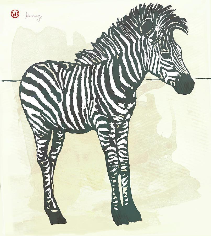 Portraits Mixed Media - Baby Zebra - Stylised Pop Art Poster by Kim Wang