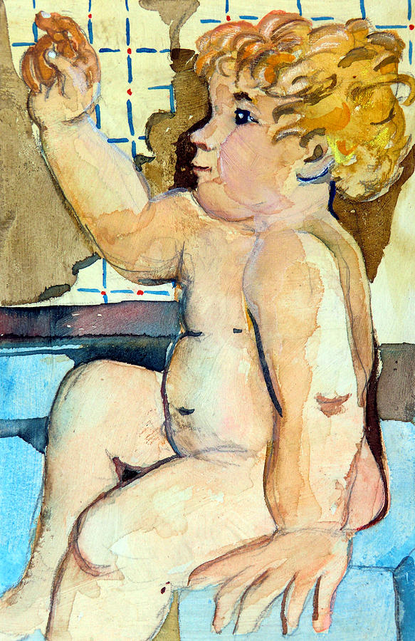 Baby Painting - Babys Bath by Mindy Newman