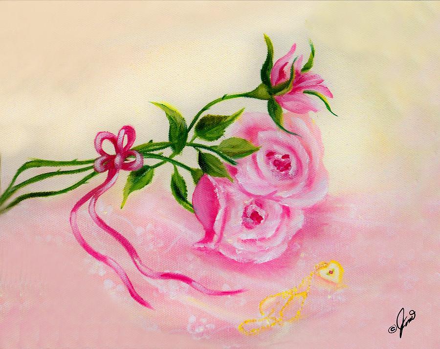 Floral Painting - Babys Locket by Joni McPherson