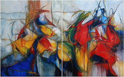 Abstract Painting - Bacchanalian Feast by Diamantis Stagidis