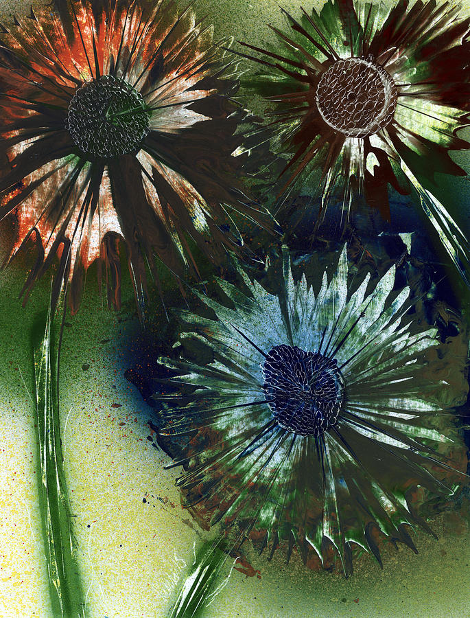 Flowers Painting - Bachelor Button Trio by Jason Girard