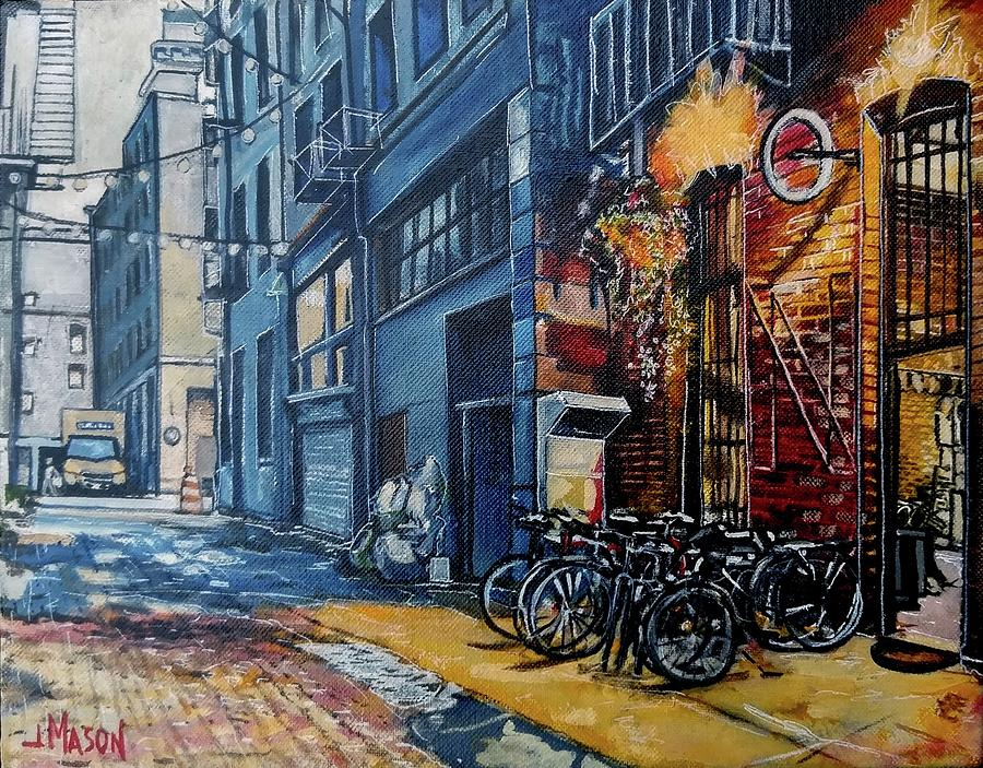 Back Alley Bike Repair Painting by Jay Mason