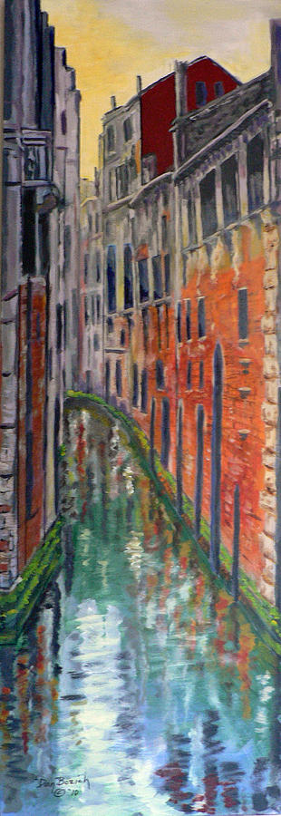 Venice Canal Painting - Back Alley by Dan Bozich
