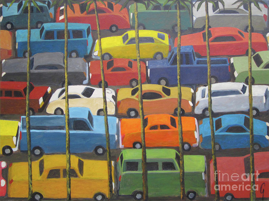 Cars Painting - Back And Forth by Glenn Quist