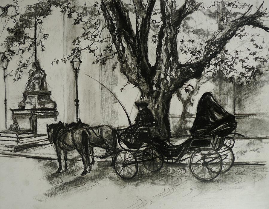 Horse And Carriage Drawing - Back In Time by Veronica Coulston