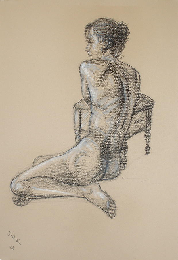 Realism Drawing - Back Nude 2 by Donelli  DiMaria