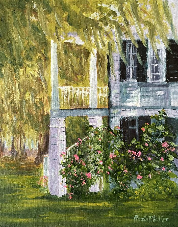 Back Porch Of Grove Plantation, Ace Basin Painting by Rosie Phillips
