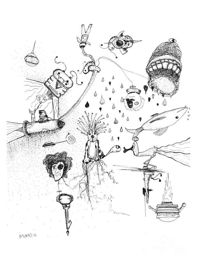 Door Drawing - Back Rooms of My Mind Door 17715 by Mike Mooney