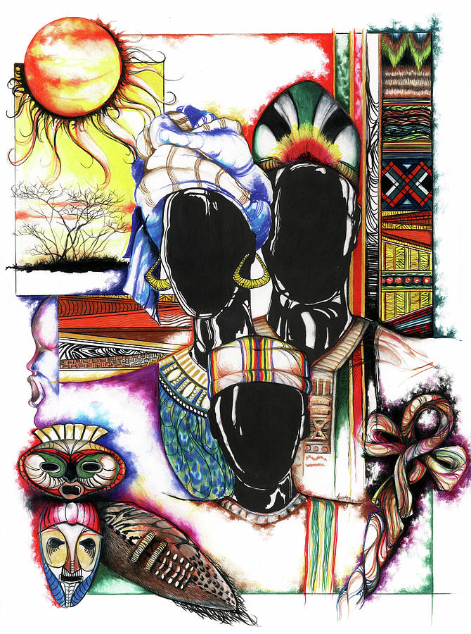 Sun Drawing - Back To Basic by Anthony Burks Sr