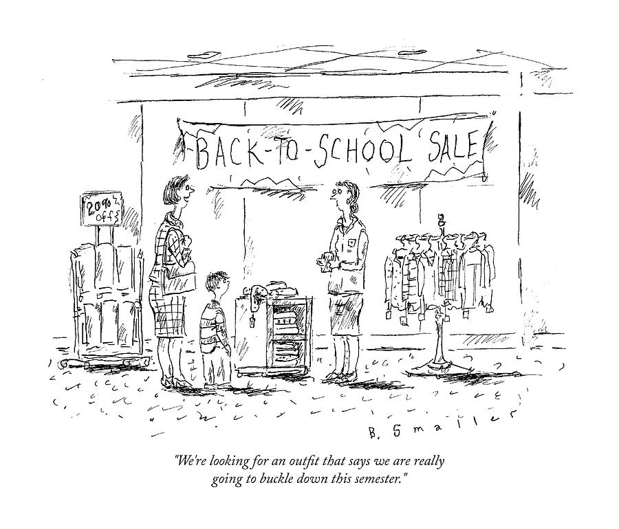 Back-to-school-sale Drawing by Barbara Smaller