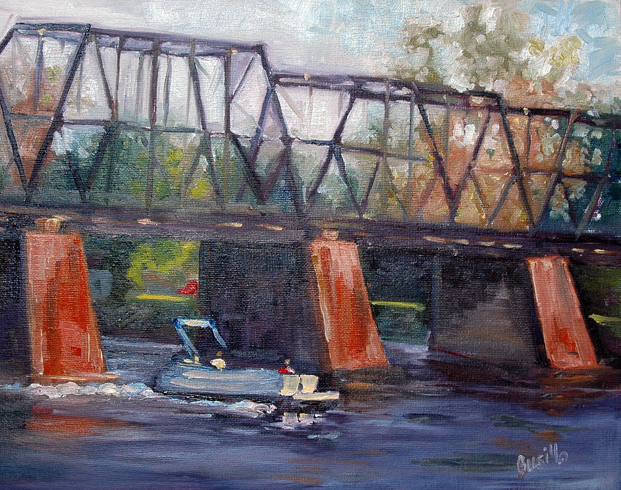 Water Painting - Back to the Slip Before Dark by Kathy Busillo